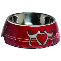 Rogz Bowlz Bubble - Miska pro psy nerezová a plastová vzor Red Heart, 350 ml