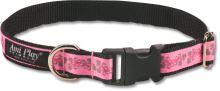 Obojek pro psa nylonový - bezpečnostní - růžový se vzorem květina - 2,5 x 53 - 85 cm