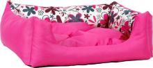 Pelech pro zvířata Argi obdélníkový s polštářem - růžový se vzorem - 45 x 35 x 18 cm