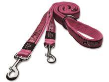 Vodítko pro psa přepínací, nylonové - Rogz Fancy Dress Pink Bone - 2,5 x 160 cm