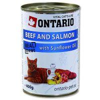 Ontario Beef, Salmon, Sunflower oil - hovězí & losos & slunečnicový olej pro dospělé kočky 400 g