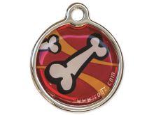Rogz Metal Red Bones Kovová známka pro psy - velikost L, průměr 31 mm