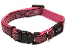 Obojek pro psa nylonový - Rogz Fancy Dress Pink Bone - 1,1 x 20 - 32 cm