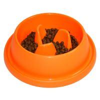Plastová miska proti hltání s protiskluzem Argi - oranžová - 31,5 x 9 cm