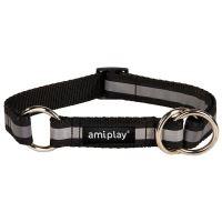 Obojek pro psa polostahovací nylonový reflexní - černý - 2,5 x 34 - 55 cm