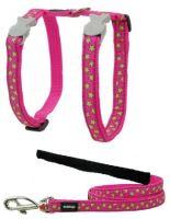 Red Dingo Nylonový postroj s vodítkem pro kočku Stars Lime on Hot Pink