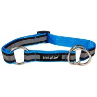 Obojek pro psa polostahovací nylonový reflexní - modrý - 2,5 x 34 - 55 cm