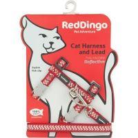 Postroj Red Dingo s vodítkem - reflexní - červená ziggy