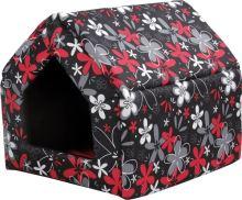 Bouda pro psy a kočky Argi - černá s červeným vzorem - 38 x 38 x 38 cm