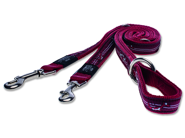 Vodítko pro psa přepínací nylonové - Rogz Fancy Dress Red Heart - 2,5 x 160 cm