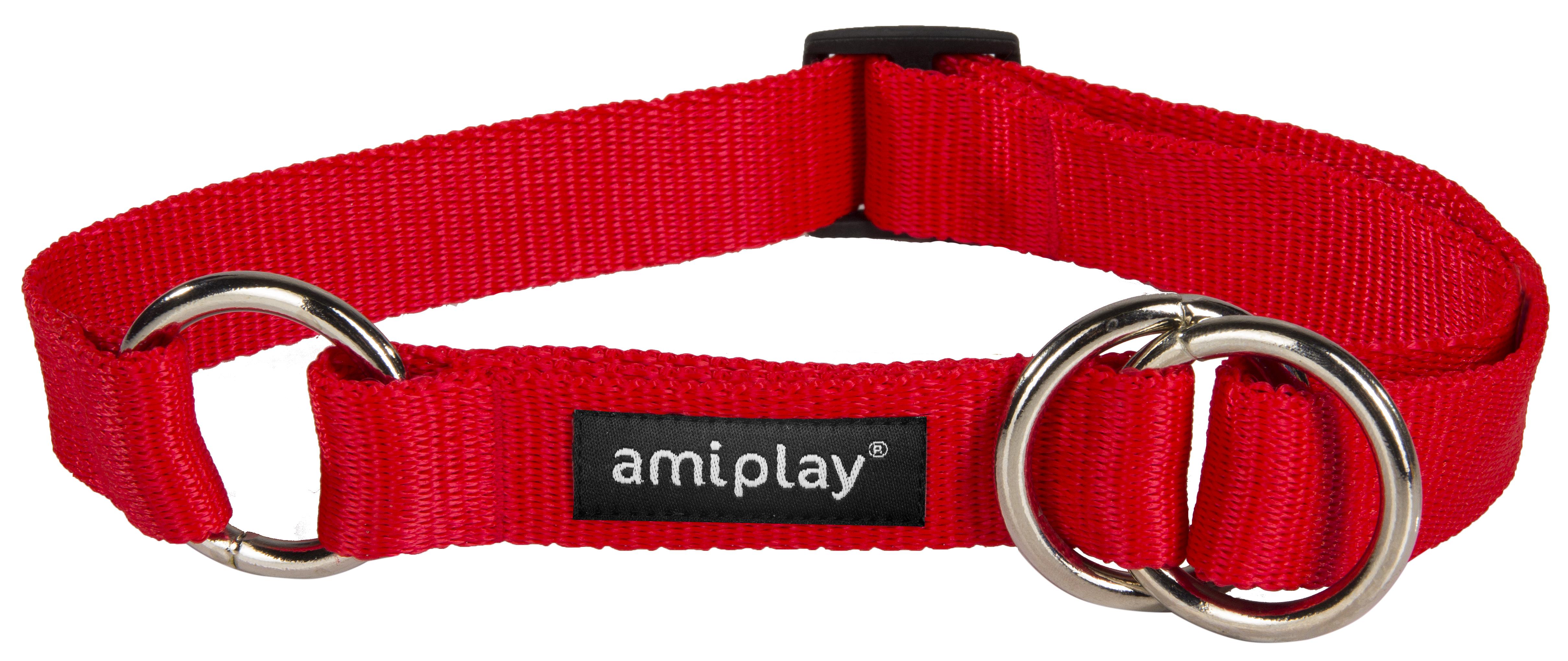 Obojek pro psa polostahovací nylonový - červený - 2,5 x 34 - 55 cm