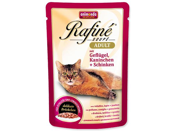 Kapsičky pro kočky Animonda Rafine Soupe drůbeží + králík + šunka 100 g