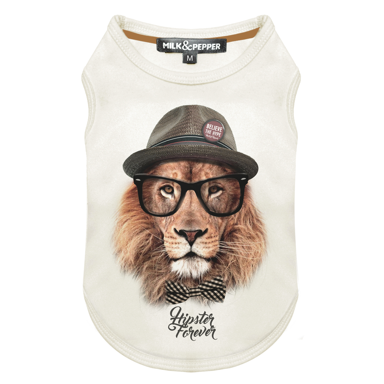 Tričko pro psa Milk&Pepper - vzor lev - bílé - 15 cm
