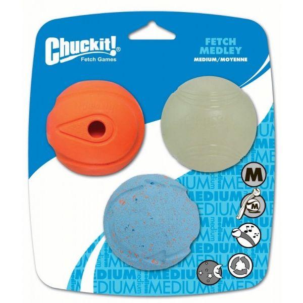 Chuckit! Medley sada 3 různých druhů aportovacích míčků