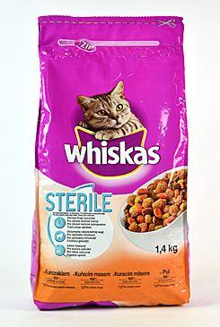 Whiskas Dry s kuřecím masem - STERILE 1,4kg