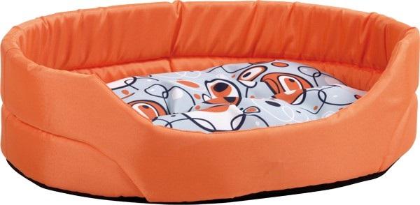 Pelech pro psa Argi oválný s polštářem - oranžový se vzorem - 57 x 49 x 16 cm