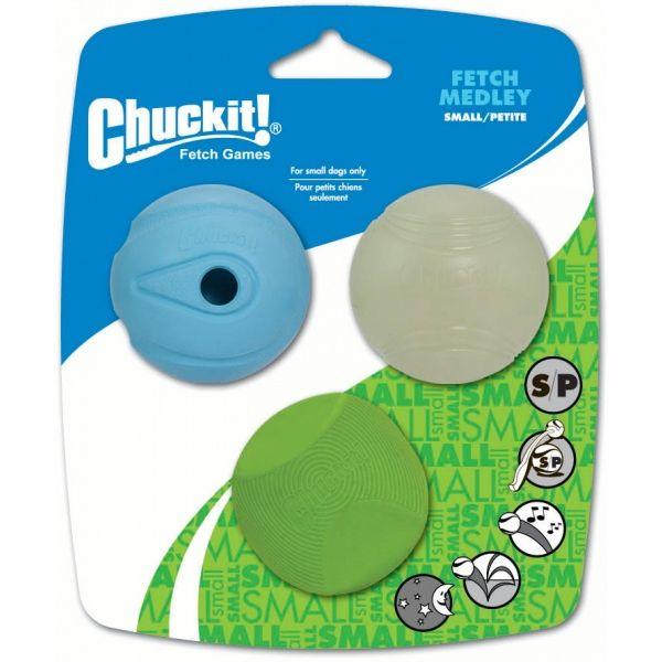 Chuckit! Medley sada 3 různých druhů aportovacích míčků - S, 5 cm