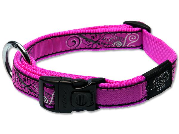 Obojek pro psa nylonový - Rogz Fancy Dress Pink Bones - 2 x 34 – 56 cm