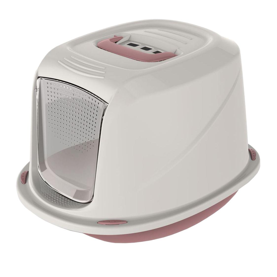 Krytá toaleta s filtrem a rukojetí Argi - růžová - 45 x 36 x 31,5 cm