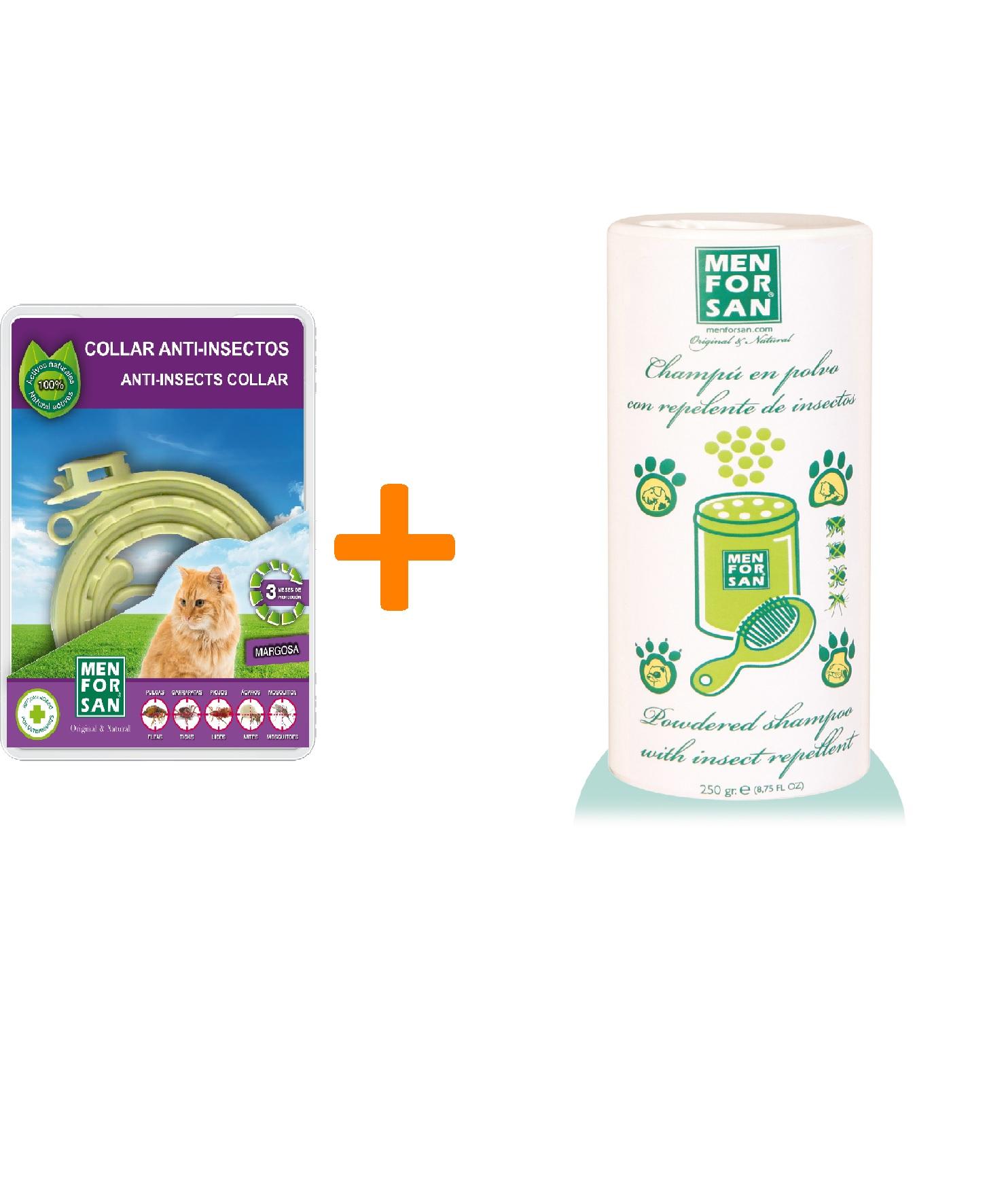 Menforsan Přírodní antiparazitní obojek pro kočky + Menforsan Práškový šampon s repelentem