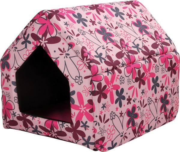 Bouda pro psy a kočky Argi - růžová se vzorem - 38 x 38 x 38 cm