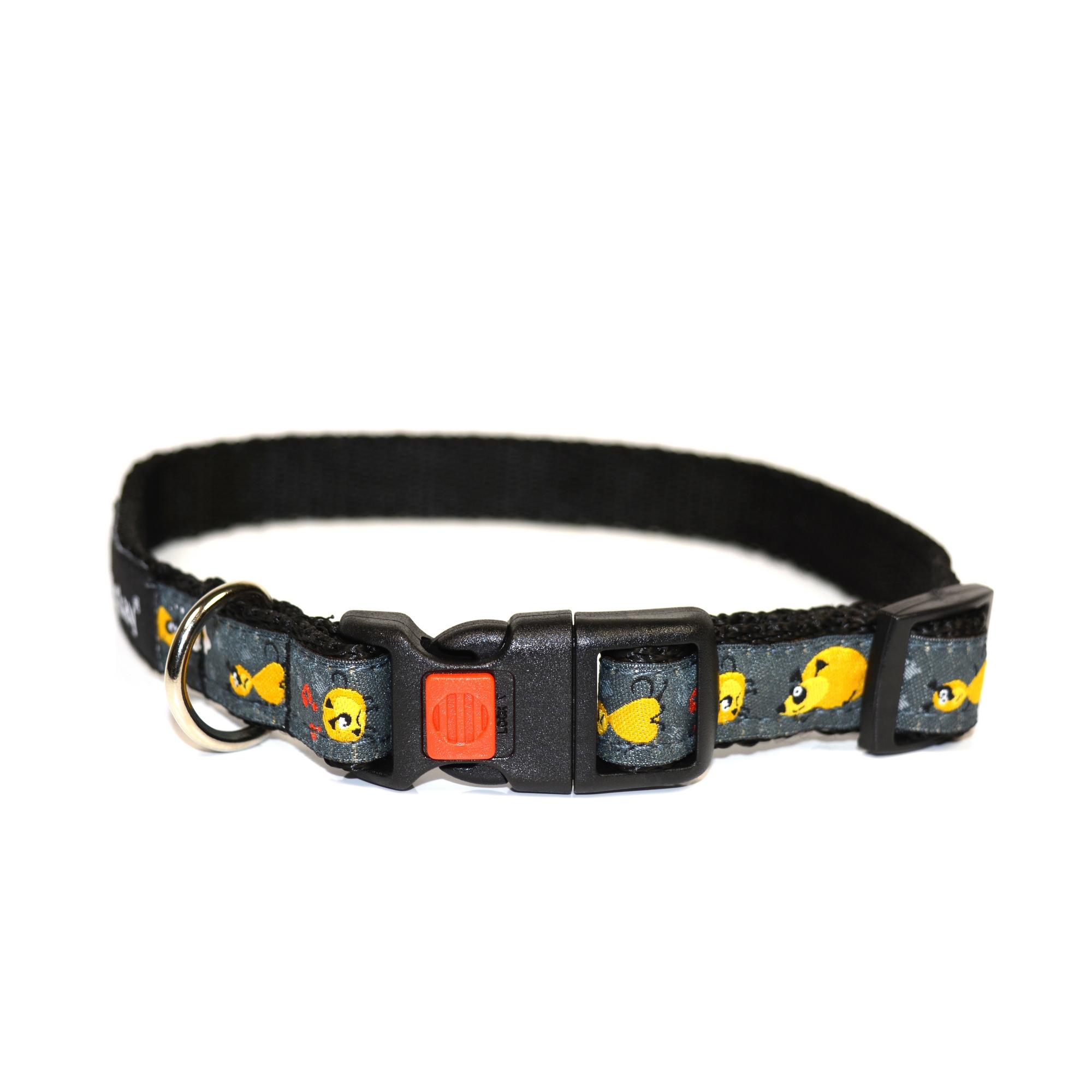 Obojek pro psa nylonový - bezpečnostní - černý se vzorem - 2 x 35 - 50 cm
