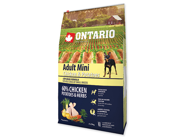ONTARIO Dog Adult Mini Chicken & Potatoes & Herbs 6,5 kg