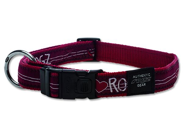 Obojek pro psa nylonový - Rogz Fancy Dress Red Heart - 2,5 x 43 - 70 cm