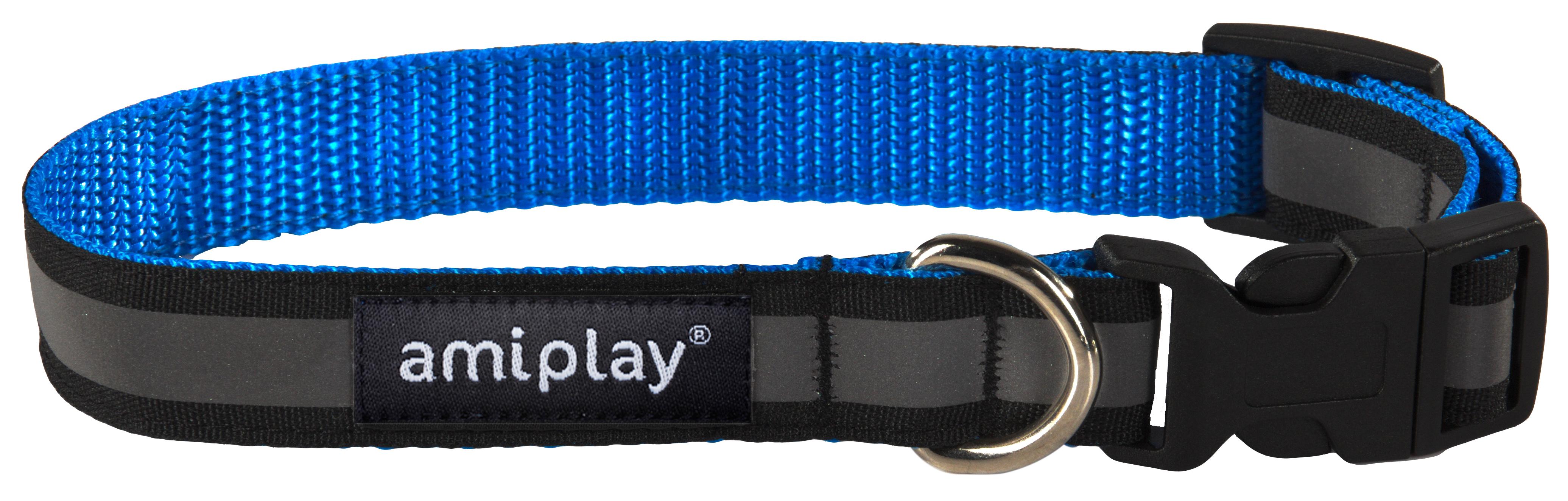 Obojek pro psa nylonový reflexní - modrý - 2,5 x 34 - 55 cm