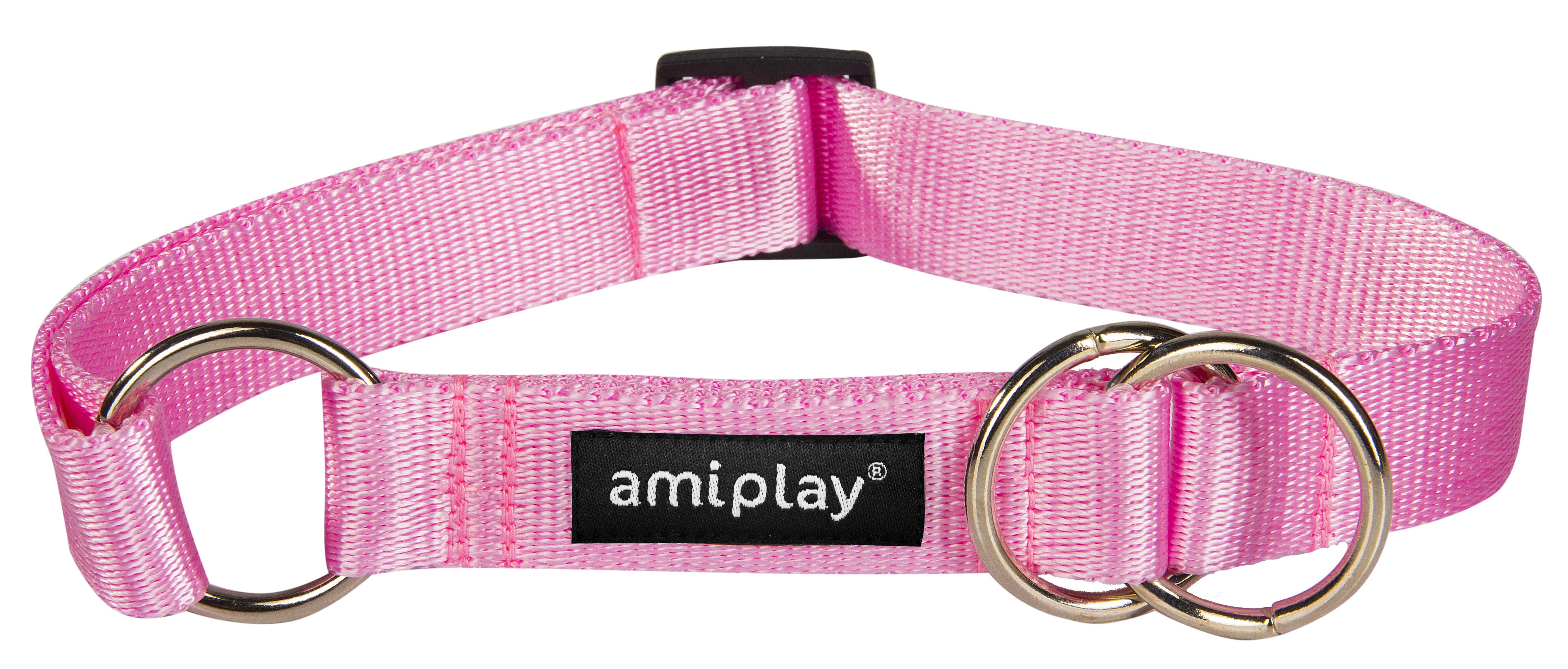 Obojek pro psa polostahovací nylonový - růžový - 2,5 x 34 - 55 cm