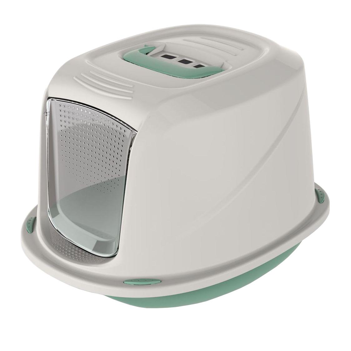 Krytá toaleta s filtrem a rukojetí Argi - zelená - 45 x 36 x 31,5 cm