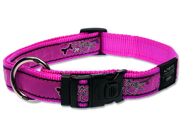 Obojek pro psa nylonový - Rogz Fancy Dress Pink Bones - 2,5 x 43-70 cm