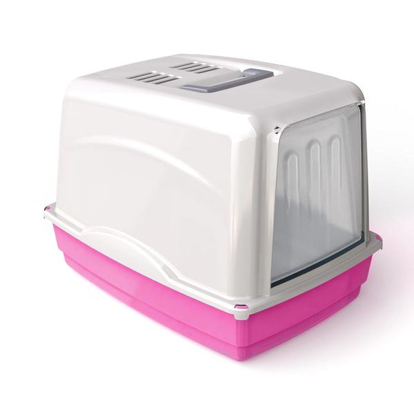 Krytá toaleta s filtrem Argi - růžová - 54 x 39 x 39 cm