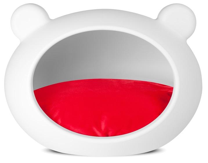 Guisapet plastový pelíšek pro psy bílý, polštář červený
