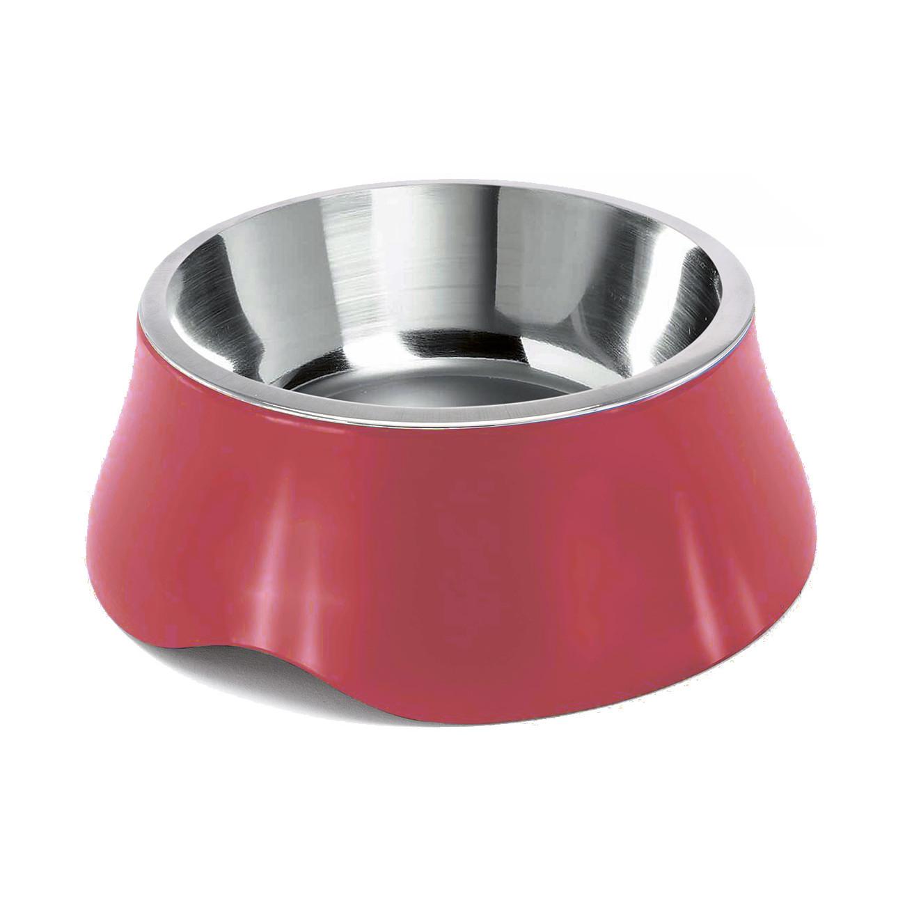 Miska pro psa Argi - nerez / plast - červená - 900 ml