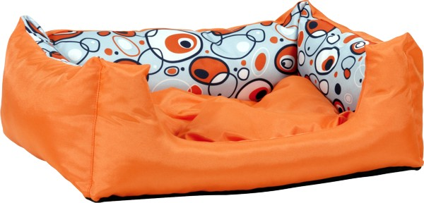 Pelech pro psa Argi obdélníkový s polštářem - oranžový se vzorem - 55 x 40 x 19 cm