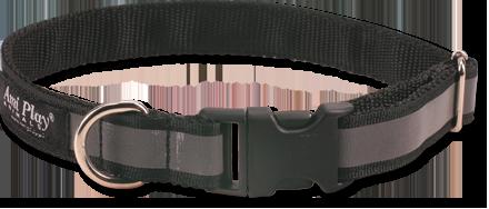 Obojek pro psa nylonový reflexní - černý - 2,5 x 34 - 55 cm