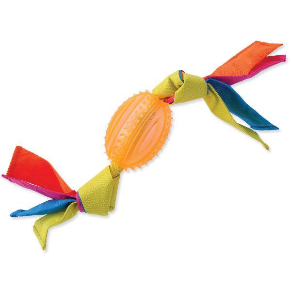 Přetahovadlo DOG FANTASY ovál gumové s látkou oranžové 43 cm