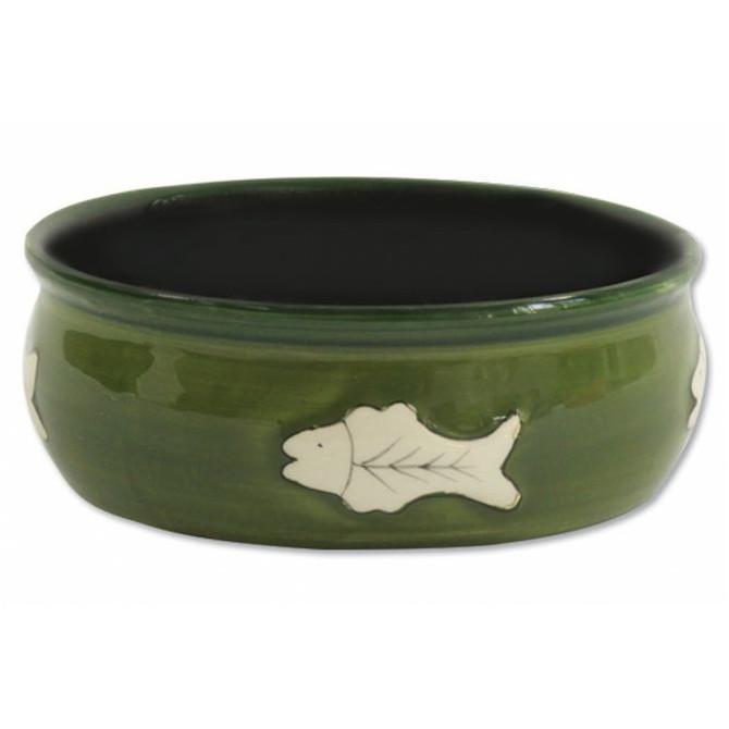 Magic Cat miska keramická zelená s rybkou - 12,5 cm