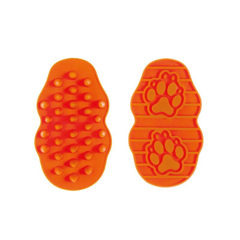 Kartáč na psy a kočky gumový Argi - oranžový - 13x7,5x3 cm