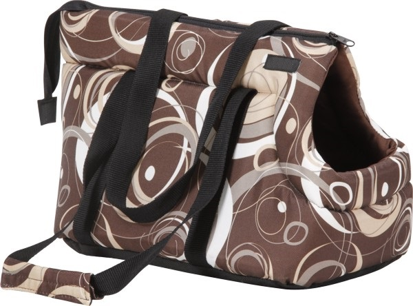 Taška pro psa Argi z polyesteru - hnědá se vzorem - 42 x 26 x 30 cm