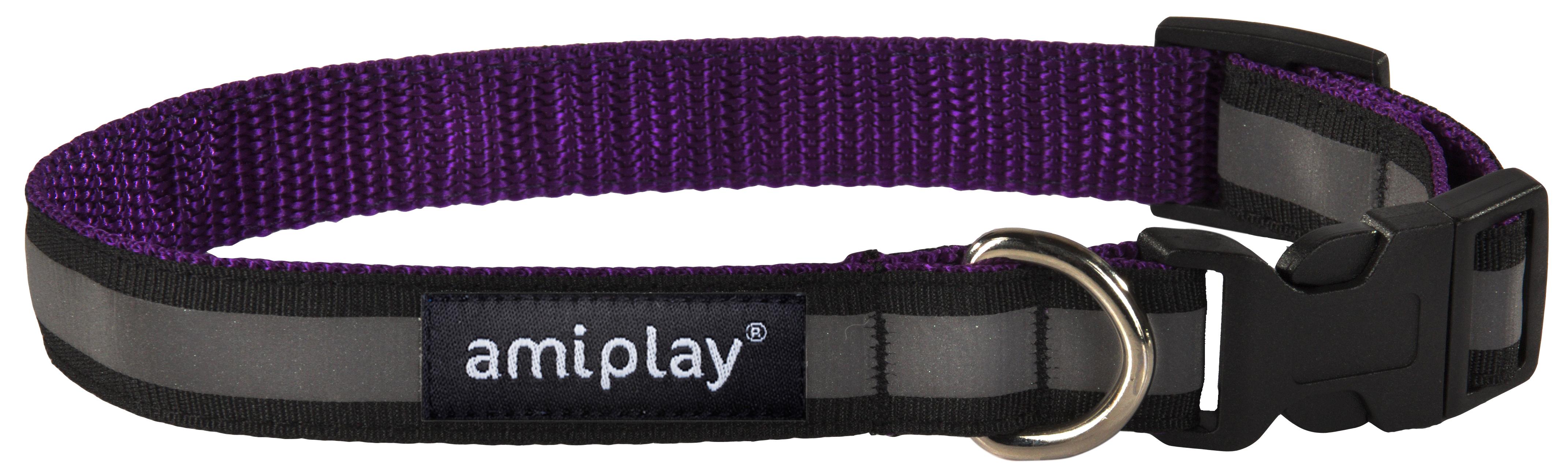Obojek pro psa nylonový reflexní - fialový - 2,5 x 34 - 55 cm