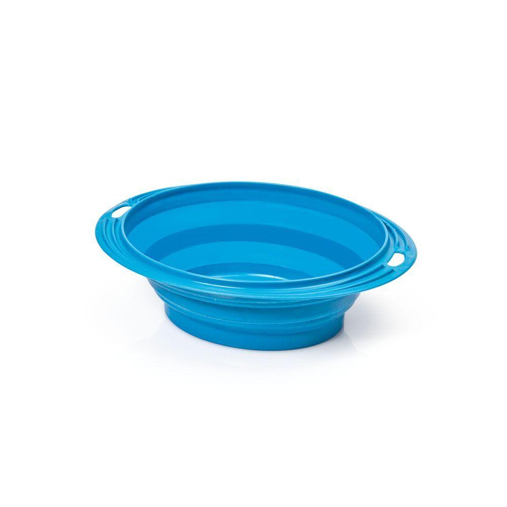 Silikonová cestovní miska oválná Argi - modrá - 1000 ml