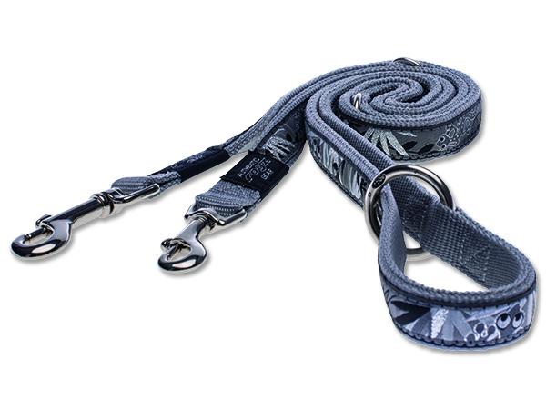 Vodítko pro psa přepínací - nylonové - Rogz Fancy Dress Silver Gecko - 2,5 x 160 cm