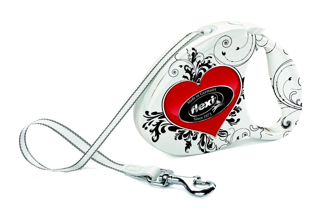 Flexi Fashion Samonavíjecí vodítko do 12 kg páskové srdce, 3 m