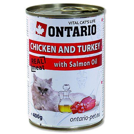 Konzerva pro kočky Ontario Chicken, Turkey, Salmon Oil 400 g