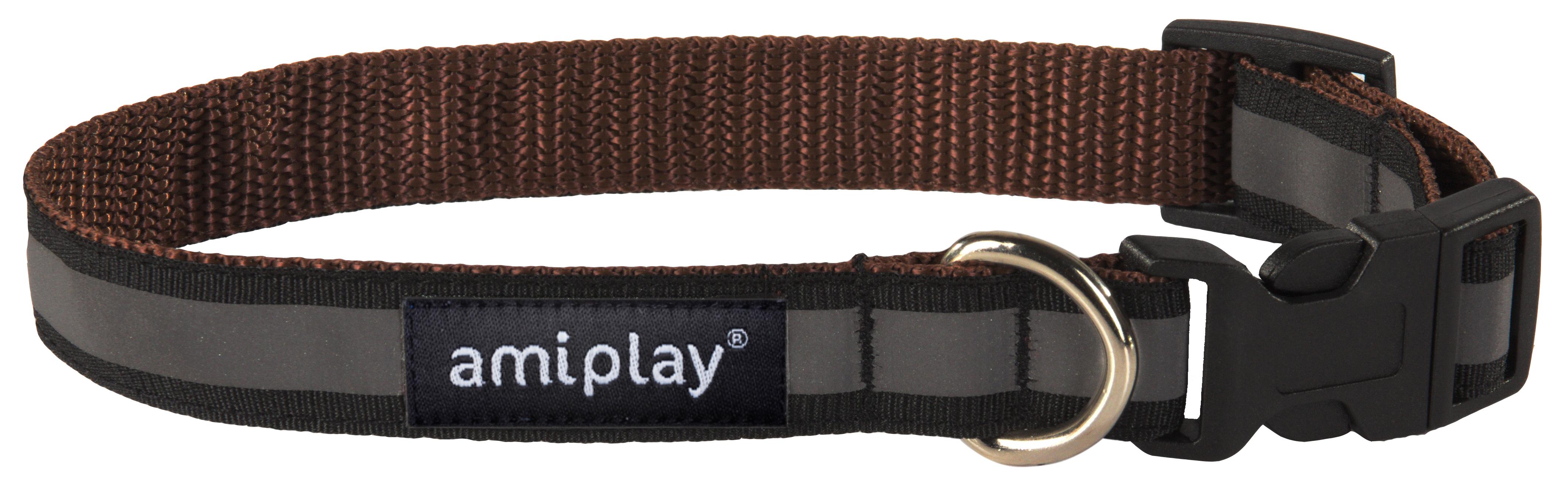 Obojek pro psa nylonový reflexní - hnědý - 2,5 x 34 - 55 cm