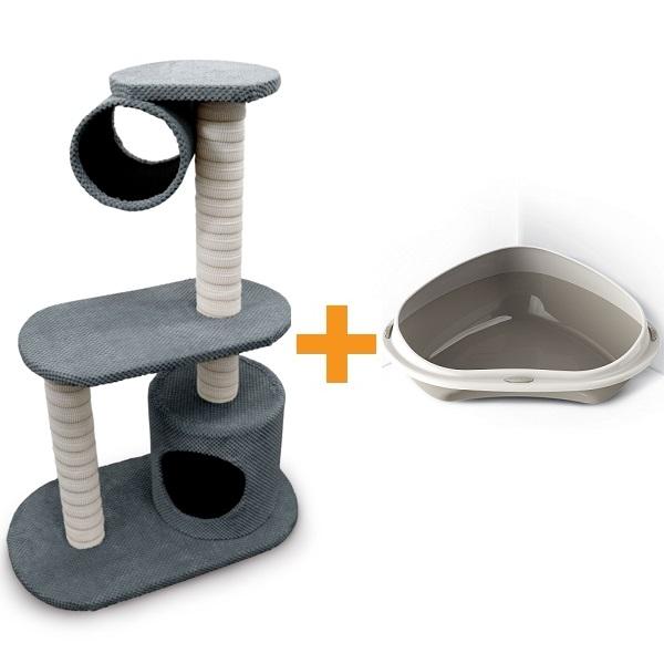 Škrabadlo pro kočky Argi - Olivia - šedé - 100x38x68 cm + Rohová toaleta Argi - šedá - 58x 58x48x20,5 cm