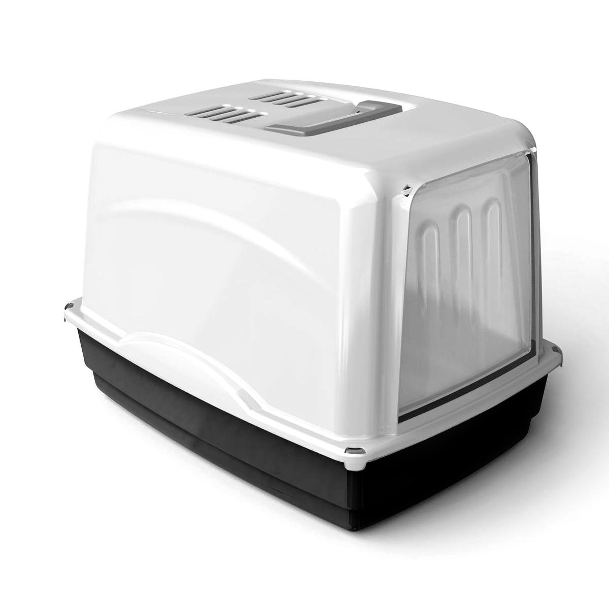 Krytá toaleta s filtrem Argi - černá - 54 x 39 x 39 cm