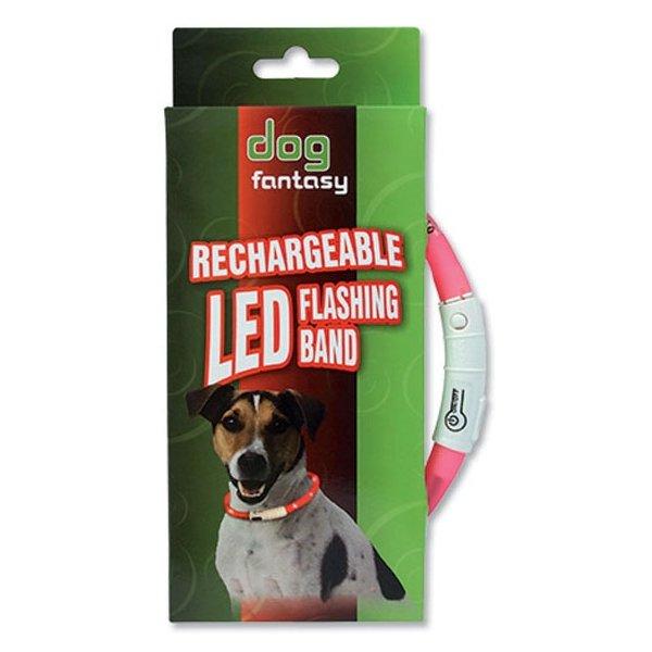Dog Fantasy obojek Svítící LED fialový 45 cm